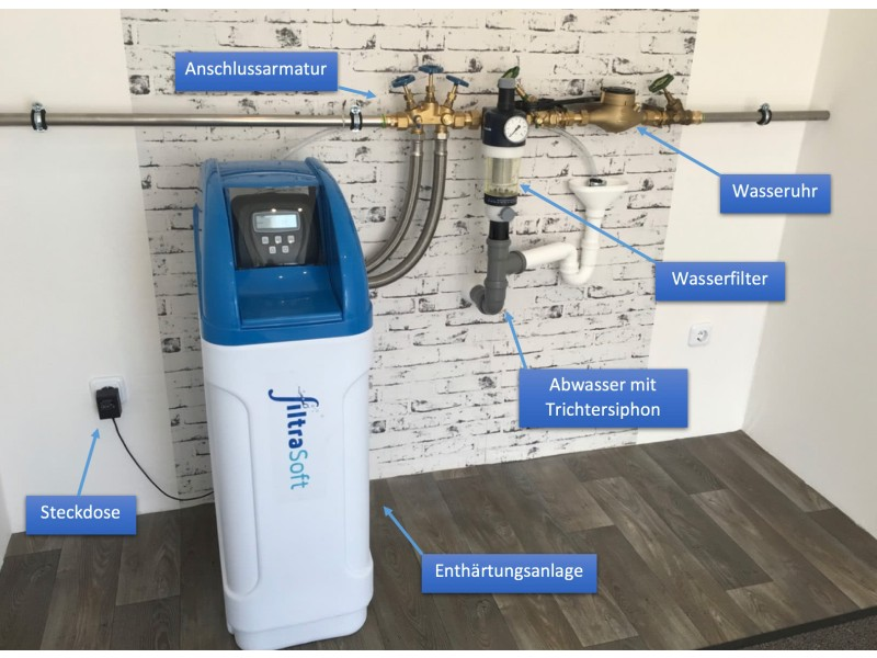 Anschlussbeispiel einer Enthärtungsanlage. Die Wasseruhr und der Wasserfilter sind nicht im Lieferumfang enthalten.