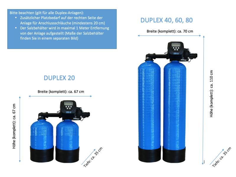 Maße der Drucktanks FILTRASOFT Duplex (bis Duplex 80)