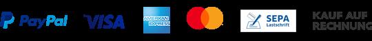 Zahlung per Paypal, Rechnung, Kreditkarte, Lastschrift und Vorkasse abzüglich 3% Skonto