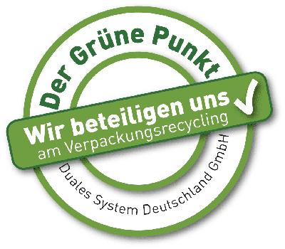 *Mit diesem Logo möchten wir zeigen, dass wir Kunde beim Grünen Punkt sind, und damit unseren Pflichten zur Systembeteiligung nach dem Verpackungsgesetz nachkommen wollen.